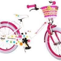 Ashley kinderfiets meisje buitenspeelgoed 18 inch wit roze