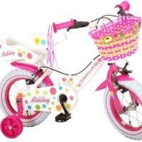 Meisjesfiets kinderfiets meisje buitenspeelgoed 12 inch poppenzitje zijwieltjes